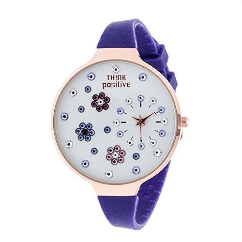 Ladies THINK POSITIVE Modell SE W112 Blumen Grosse Rose Buegel Silikon Farbe Violett