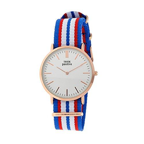 Ladies THINK POSITIVE Modell SE W92 Flachband Uhr Grosse Rose von Cordora Blau Rot Weiss
