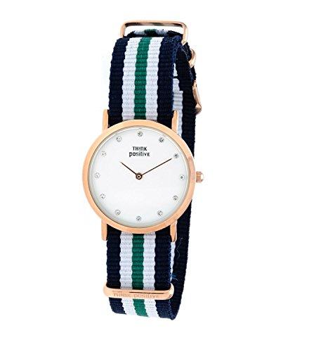Ladies THINK POSITIVE Modell SE W96 Flachkristallband Uhr Medium Rose von Cordora Blau Weiss Gruen