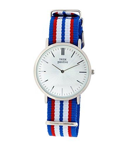 Ladies THINK POSITIVE Modell SE W92 Uhr Grosse Flachstahl Cordora Riemen Farbe Blau Rot Weiss