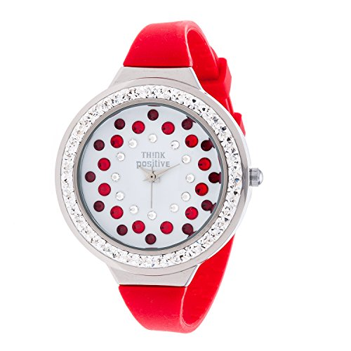 Ladies THINK POSITIVE Modell SE W116A Star Dust Tunnel Medium Stahlband Silikon Farbe Rot