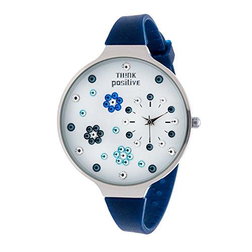 Ladies THINK POSITIVE Modell SE W112 Blumen Grosse Stahlband Silikon Farbe Blau