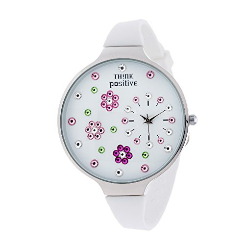 Ladies THINK POSITIVE Modell SE W112 Blumen Grosse Stahlband Silikon Farbe Weiss