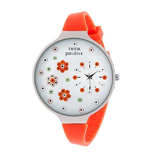 Ladies THINK POSITIVE Modell SE W112 Blumen Grosse Stahlband Silikon Farbe Orange