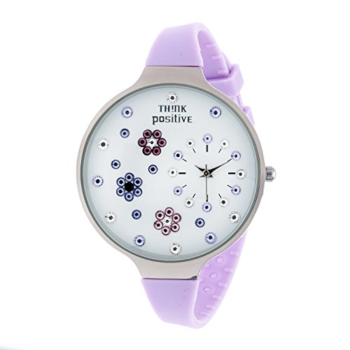 Ladies THINK POSITIVE Modell SE W112 Blumen Grosse Stahlband Silikon Lila Farbe