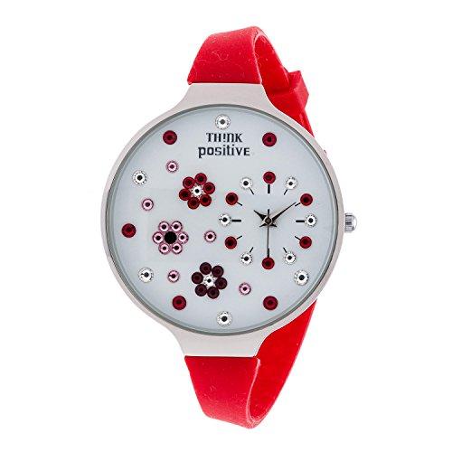 Ladies THINK POSITIVE Modell SE W112 Blumen Grosse Stahlband Silikon Farbe Rot