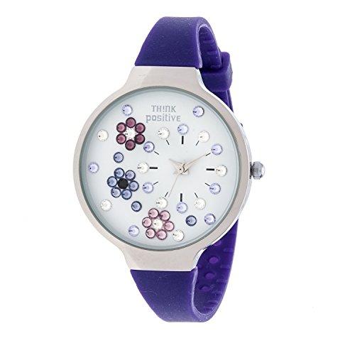 Ladies THINK POSITIVE Modell SE W113 Blumen Medium Stahl Silikon des Armbands Farbe Violett