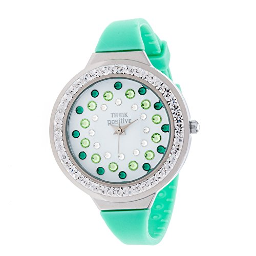 Ladies THINK POSITIVE Modell SE W116A Star Dust Tunnel Medium Stahlband Silikon Farbe Aquamarin