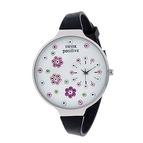 Ladies THINK POSITIVE Modell SE W112 Blumen Grosse Stahlband Silikon Farbe Schwarz