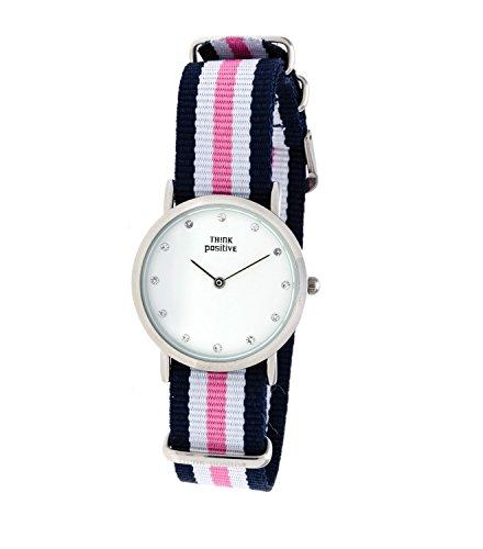 Ladies THINK POSITIVE Modell SE W96 Uhr Medium Flachstahl Kristall Armband von Cordora Blau Weiss Rosa