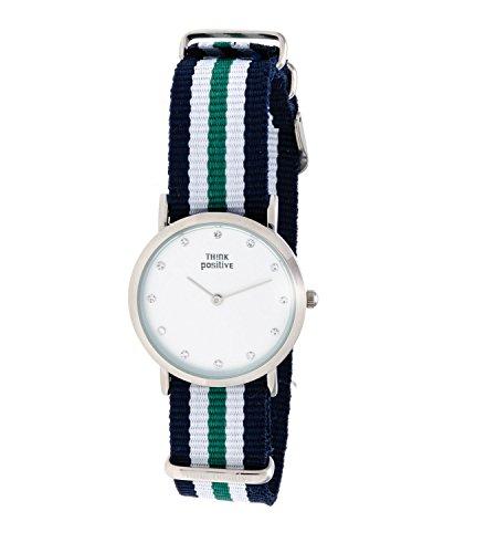 Ladies THINK POSITIVE Modell SE W96 Uhr Medium Flachstahl Kristall Armband von Cordora Blau Weiss Gruen