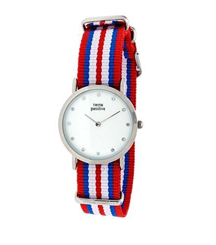 Ladies THINK POSITIVE Modell SE W96 Uhr Medium Flachstahl Kristall Armband von Cordora Rot Blau Weiss