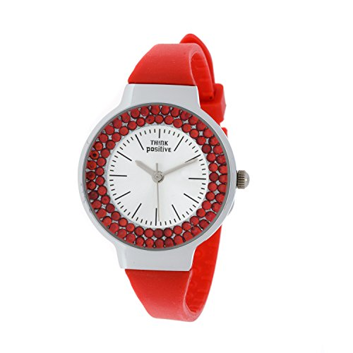 Ladies THINK POSITIVE Modell SE W262 Stahl Stahlband aus Silikon Farbe Rot