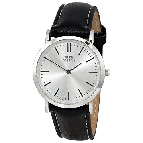 THINK positive Classic Analog Leder PU Armband schwarz Quarz Uhr UTP7060S