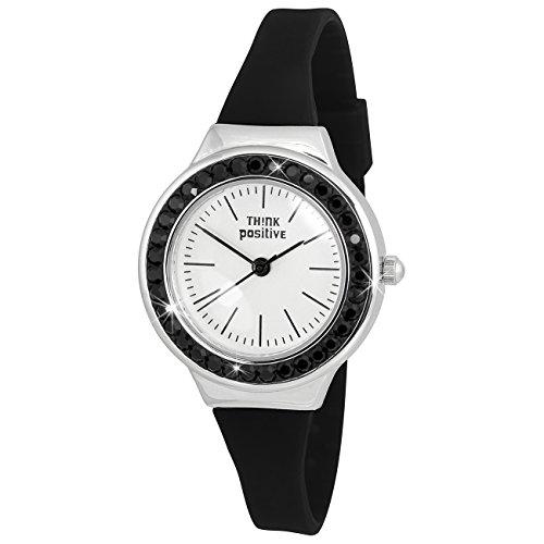 THINK positive Crystal Analog Fashion Silikon Armband schwarz Quarz Uhr UTP1209S