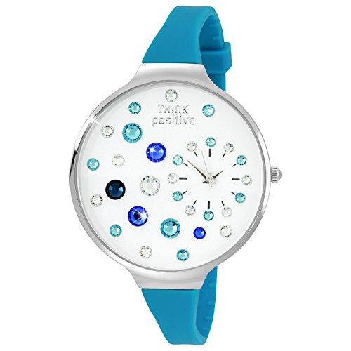 THINK positive Stardust Analog Fashion Silikon Armband tuerkisblau Quarz Uhr UTP1049T