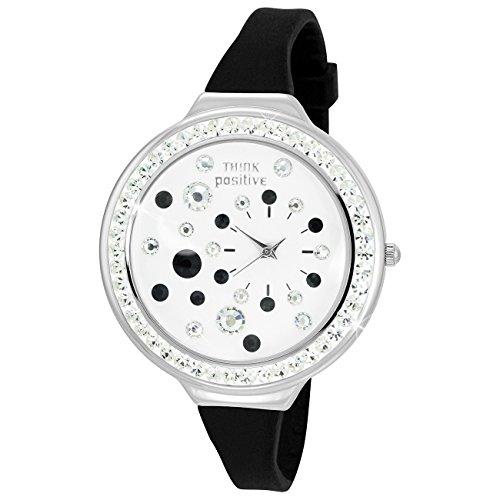 THINK positive Stardust Analog Fashion Silikon Armband schwarz Quarz Uhr UTP1011S