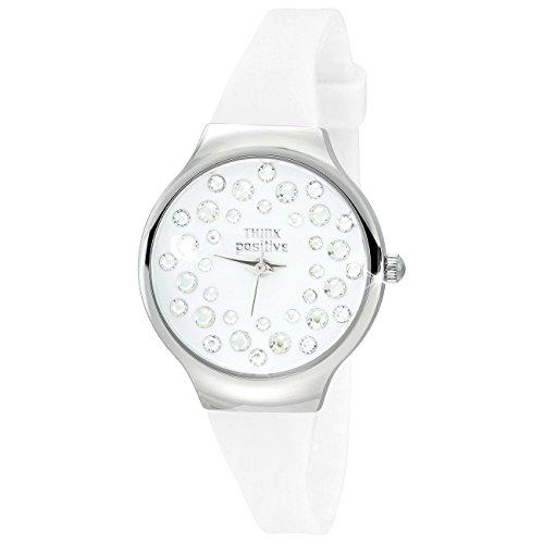 THINK positive Stardust Analog Fashion Silikon Armband weiss Quarz Uhr UTP1054W
