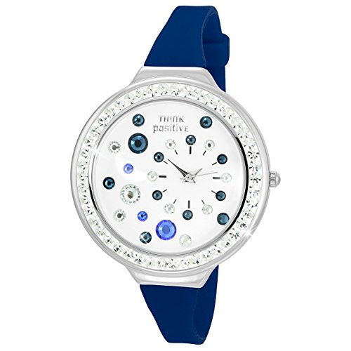 THINK positive Stardust Analog Fashion Silikon Armband blau Quarz Uhr UTP1011B
