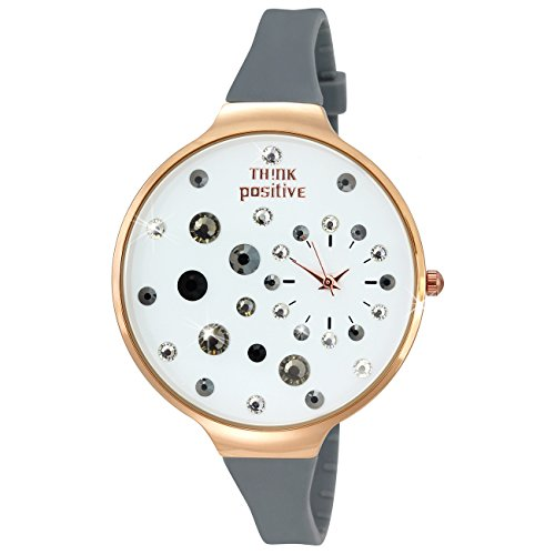THINK positive Stardust Analog Fashion Silikon Armband grau Quarz Uhr UTP1149K