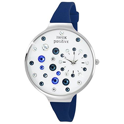 THINK positive Stardust Analog Fashion Silikon Armband blau Quarz Uhr UTP1049B