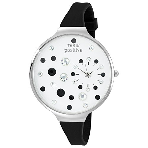 THINK positive Stardust Analog Fashion Silikon Armband schwarz Quarz Uhr UTP1049S