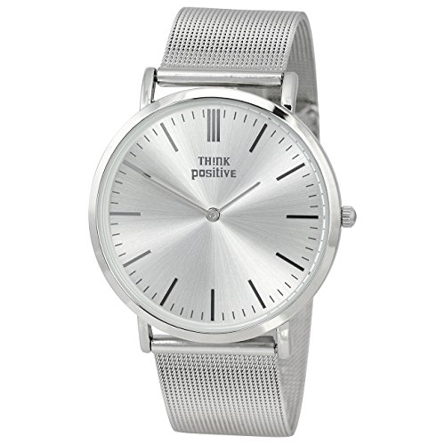 THINK positive Damen Classic Analog Edelstahl Armband silber Quarz Uhr UTP5055J