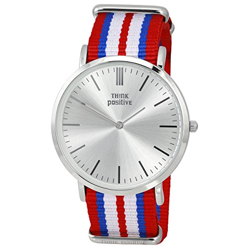 THINK positive Damen Classic Analog Casual Textil Nylon Armband rot weiss blau Quarz Uhr UTP3055R