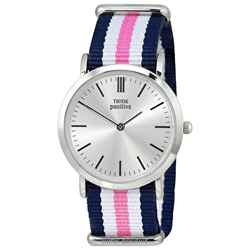 THINK positive Damen Classic Analog Casual Textil Nylon Armband blau weiss rosa Quarz Uhr UTP3060A