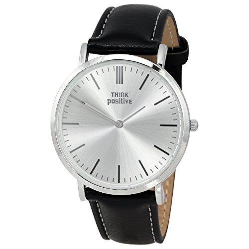 THINK positive Damen Classic Analog Leder PU Armband schwarz Quarz Uhr UTP7055S