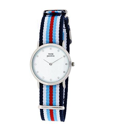 Ladies THINK POSITIVE Modell SE W96 Uhr Medium Flachstahl Kristall Armband von Cordora Blau Weiss Hellblau Rot