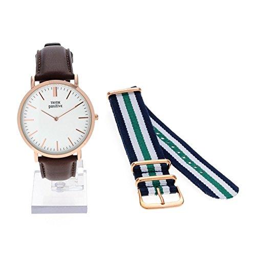 Ladies THINK POSITIVE Modell SE W92 Uhr Grosse Wohnung Rose Armband Leder dunkelbraun Made in Italy Und Cordora Blau Weiss Verte