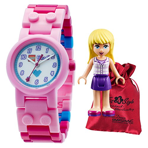 LEGO Friends Stephanie rosa pink Transportsaeckchen Kunststoff Armband Quarzuhr Kinderuhr ULE8020172
