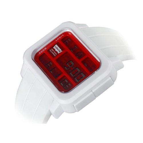 Levis unisex rote LCD Digitaluhr weisses Kautschuckarmband LTI0102