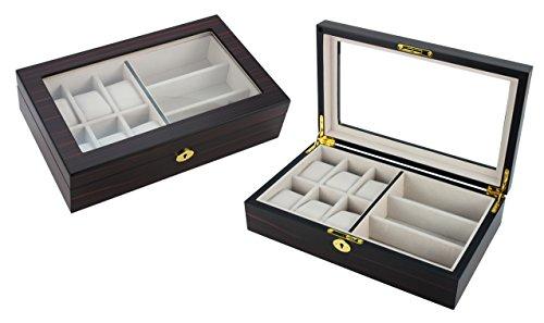 Hochwertige Uhrenbox Brillenbox von Woolux fuer 6 Uhren und 3 Brillen aus Holz