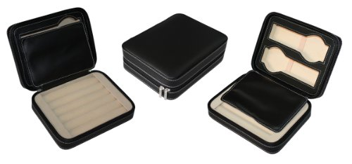 Hochwertige Uhrenbox Woolux Reisebox fuer 2 Uhren Manschettenknoepfe Leder