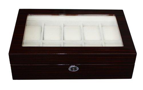 Luxus Pur ist die schoenste Uhrenbox von Woolux fuer 10 Uhren aus Holz Uhrenschatulle mit extra grossen Kissen