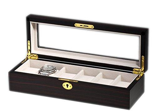 WOOLUX sw 1087 6e Uhrenkasten mit Vitrine Aufbewahrungsbox fuer 6 Uhren aus Holz Mahagoni Finish