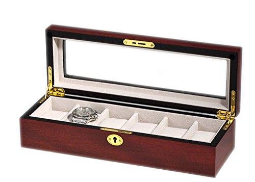 WOOLUX sw 1087 6 C Uhrenkasten mit Vitrine Aufbewahrungsbox fuer 6 Uhren aus Holz Finish Kirsche