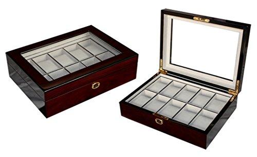 Edle Uhrenbox Woolux Holz fuer 10 Uhren mit herausnehmbaren Kissen in Kirsche Hochglanz