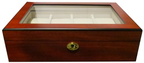 2 WAHL Uhrenbox Woolux fuer 8 Uhren aus Holz EXTREM breite Uhrenfaecher Fenster aus Echtglas
