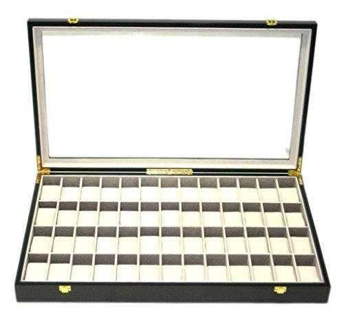 Uhrenetui von Woolux mit Fenster Aufbewahrungsbox Schatulle fuer 52 Uhren aus Holz Effekt Mahagoni
