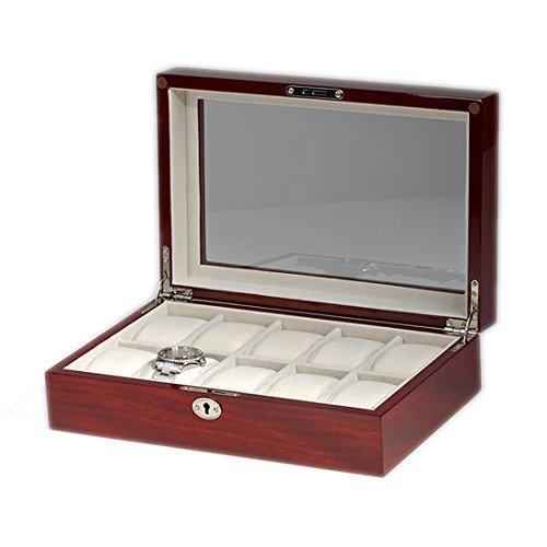 Uhrenetui von Woolux mit Fenster Aufbewahrungsbox Box fuer 10 Uhren aus Holz Finish Kirsche