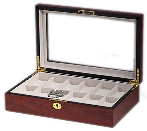 Uhrenkasten mit Vitrine Aufbewahrungsbox fuer 12 Uhren aus Holz handgefertigt Kirsche