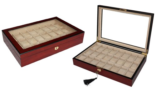Woolux Uhrenbox aus Holz fuer 24 Uhren Farbe Kirsche matt schoene Vitrine Uhrenschatulle zum Weihnachtsfest