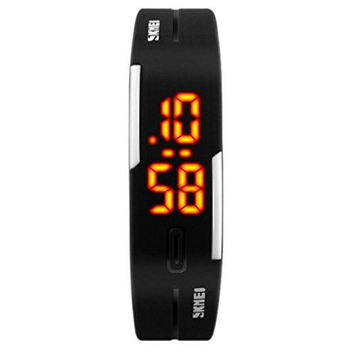 panegy NEUE Armbanduhr LED Digitale Wasserdicht Zeigt Handgelenk Digital ELECTRONIQUE Rubber Datum Wasserdicht 29 M Silikon Sport Fitness fuer Herren Damen Unisex Schwarz
