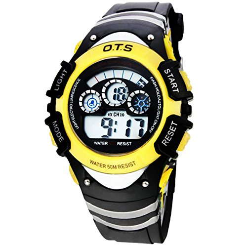 Kinder Armbanduhr Jungenuhr Maedchenuhr LED Uhr Multifunktionsuhr Digital Uhr Gelb