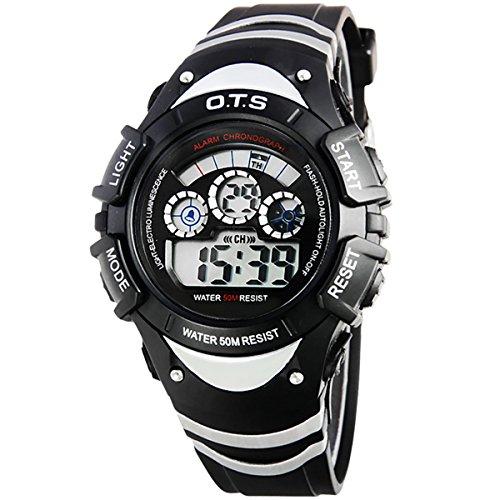 Kinder Armbanduhr Jungenuhr Maedchenuhr LED Uhr Multifunktionsuhr Digital Uhr Schwarz