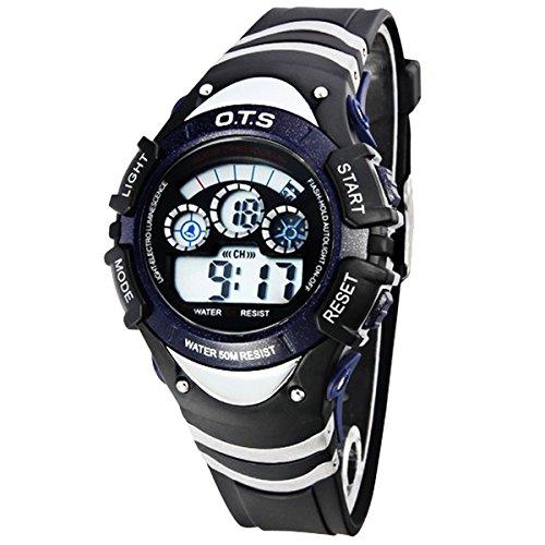 Kinder Armbanduhr Jungenuhr Maedchenuhr LED Uhr Multifunktionsuhr Digital Uhr Dunkelblau
