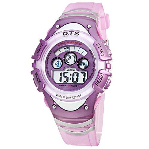 LED Uhr Multifunktionsuhr Digital Uhr Lila
